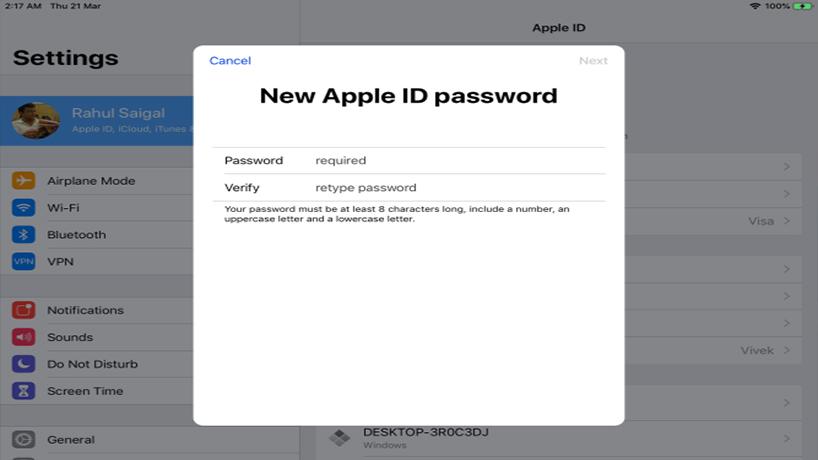 بازیابی رمز اپل ای دی