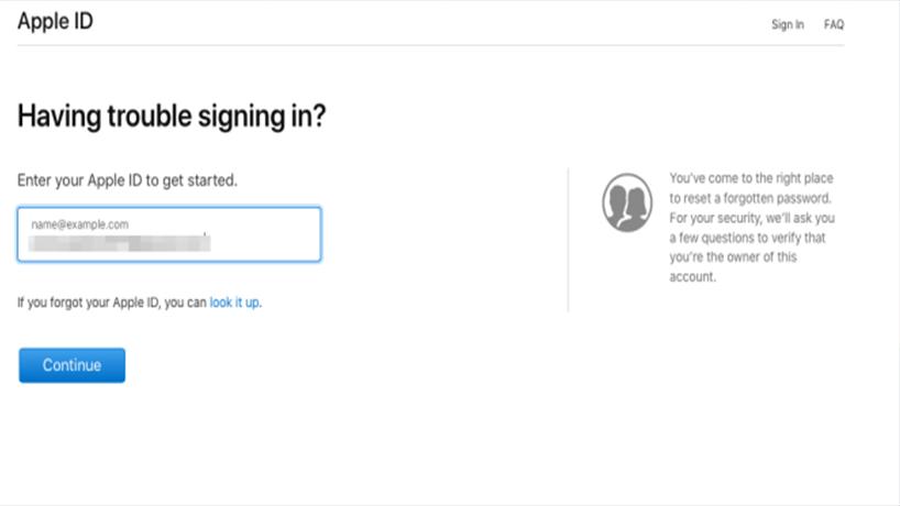 بازیابی رمز اپل ای دی در سایت apple id